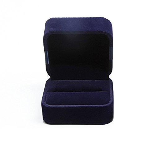 Boîte de rangement Treestar élégante pour bagues - Écrin double pour alliances de mariage, boîte à bijoux, boîte de présentation, coffret cadeau - Bleu foncé