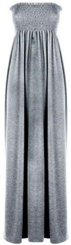 Chocolate Pickle ® Frauen Plus Size Boob Tube Maxi Stretch Sheering Sommer-Strand-Maxi Grau - Light Grey