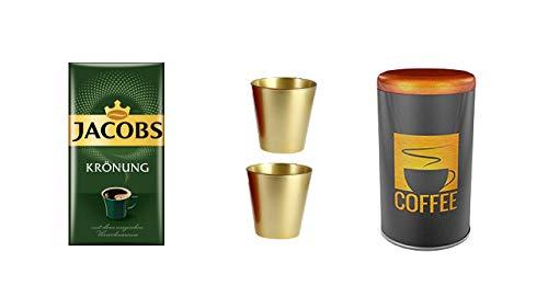 Kaffee Kaffeedose Rund Für 500 g Lebensmittel Cu + Jacobs Filterkaffee KRÖNUNG KLASSISCH je 500-g-Vak.-Packg. + 2 goldene Glasbecher 250ml