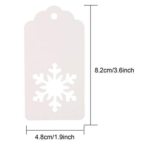 (100Stück Papier Geschenk Tags Hohl Schneeflocke Crafts Label, mit 30Meter Ranken für Weihnachten Winter Thema Party Hochzeit Geburtstag Geschenk (weiß))