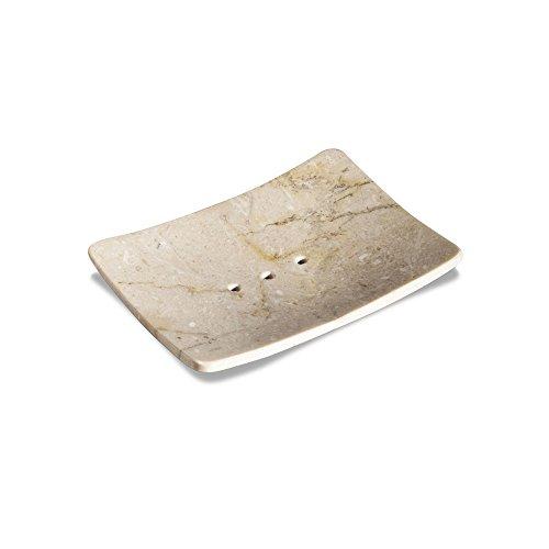 wohnfreuden Naturstein Marmor Seifenschale mit Loch Creme 12x9x2 cm Ablage Zen Platte - Creme Gefräst Seife