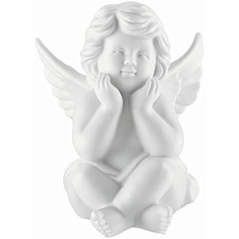 Angelo seduto y pensante da porcellana biscuit bianco opaco, da qualità Rosenthal 11 cm in una scatola da regalo