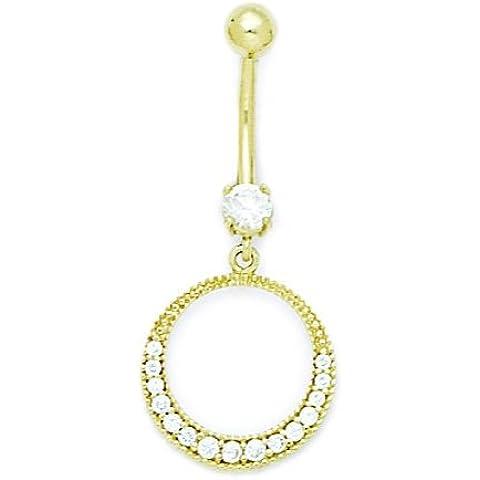 Oro Giallo 14ct CZ 14gauge pendenti cerchio gioielli per il Corpo Piercing–Misure 38x
