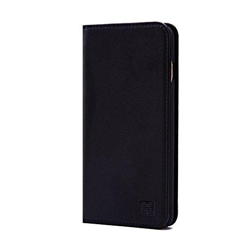 32nd Klassische Series - Lederhülle Case Cover für Apple iPhone 6 Plus & 6S Plus, Echtleder Hülle Entwurf gemacht Mit Kartensteckplatz, Magnetisch und Standfuß - Schwarz