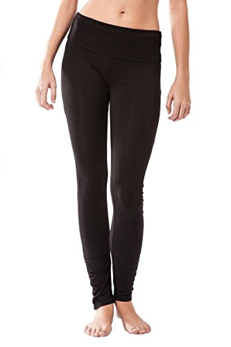 Pantalon Fitness para mujer, Dhana de Sternitz, ideal para hacer pilates, yoga y cualquier deporte, tela de bambú, ecológica y suave. Pantalón largo pegado. Muy Cómodo. (M, Negro)