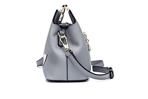 Ricamato XinMaoYuan Borsetta tracolla messenger bag Pu Sezione trasversale Zipper Bag,Nero Grigio