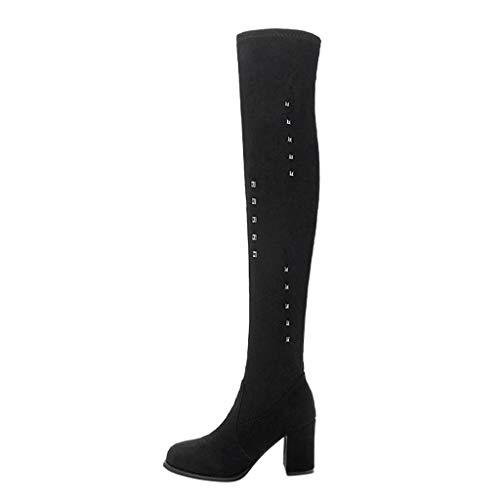 Damen Winter Stiefel 2019 Damen Über Knie Mode Winter Nieten Sexy Heels Spitz Lange Stiefel Wild Ausgehen Basic Warm Wadenlänge Knielänge (Wild Über Sie Kostüm)