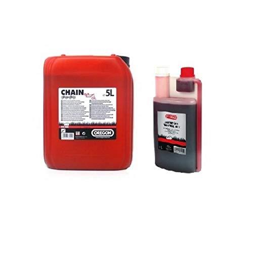 Oregon 1 x 5 L Tanica sega olio della catena + 1 x 1:50 miscela 1l Dosierflasch