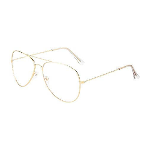 GAOHAITAO Aviation Metal Frame Sunglasses Female Optics Eyeglasses Transparent Clear Lens Women Men Glasses Optical Pilot,Gold