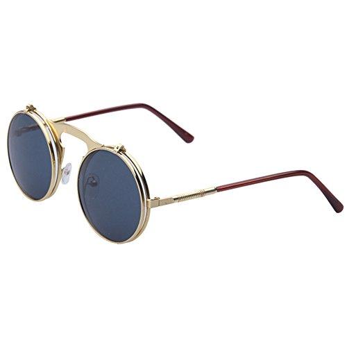 Hibote Metall Weinlese Kreis Sonnenbrille Herren Flip Up Steampunk Runde Glas Damen Schutz Brillen C4