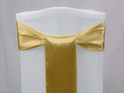 Events n Fabrics Enf 25 Stück Satin Stuhl Band Schleife Hochzeit Bankett-Party Dekoration Sb00-40 Farben SB37 - Champagne