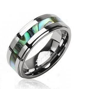 Gekko Body Jewellery Mens Tungsten Band Ring with Abalone Shell Centre - Ring Size X