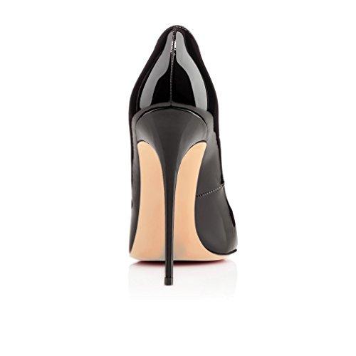 EDEFS Damen 120mm Extreme Sky Heels Lack Pumps Runde Zehen Geschlossen Stilettos Schuhe Schwarz