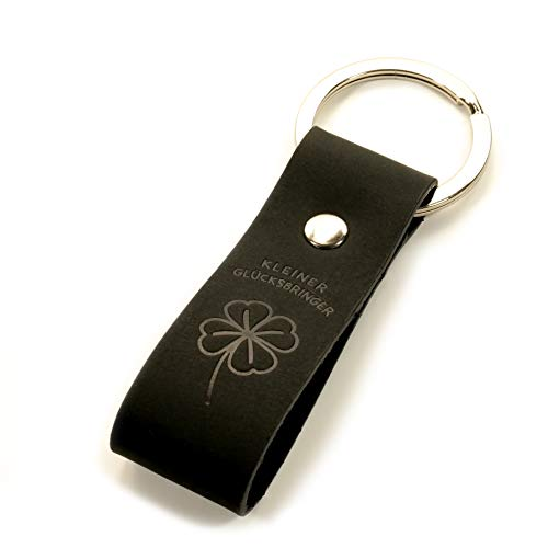 Design Schlüsselanhänger Kleiner Glücksbringer aus schwarzem Leder - Talisman - Geschenkidee - hochwertige Haptik - Geschenkbox