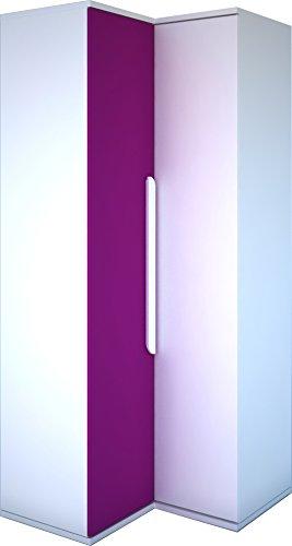 Trasman BO1 Eckkleiderschrank für Kinderzimmer, Melaminholzspanplatten, weiß / fuchsie, 98 x 96 x 223 cm
