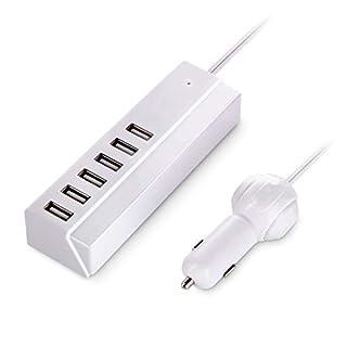 VOGEK 65W/13A Kfz Ladegerät, Multi Port USB Dockingstation Auto Ladegerät USB Kabel Autoladegerät mit Smart Identifikation für iPhone, iPad, Galaxy und mehr
