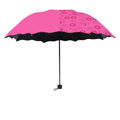 SONGSH Regenschirm Schwarzer Kunststoff-Taschenschirm UV-beständiger Regenschirm Aus Eisen Mit Doppeltem Stock Windbeständiger Glasfaserdurchmesser 98 cm Rosenrot Regenschirm (Beständig Non-slip-fünf)