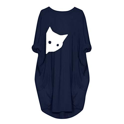 DAY.LIN Kleider Kleidung Damen Damen Tasche lose Kleid Damen Rundhalsausschnitt beiläufige Lange Tops Kleid Plus Größe Große Größe Frauen Rundhals langärmelige Volltonfarbe Tasche -