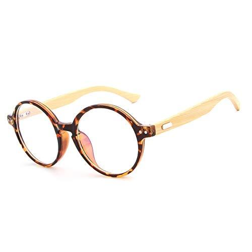 Yiph-Sunglass Sonnenbrillen Mode Handgemachte natürliche Bambusspiegelgläser gestalten Retro- runde Rahmenglasrahmen (Color : Leopard)