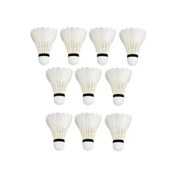 Badminton Shuttlecock White, Pack of 10 High Quality Feather Shuttlecock by SST Sports