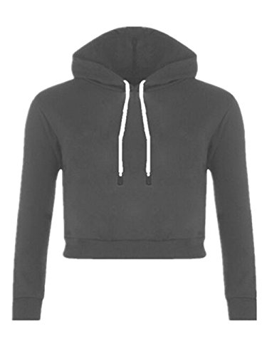 Sweat Shirt Hooded Femme Cropped Tops à Manches Longues Blouse Col Rond Casual Pull Dames Hiver Sweat-shirt Coton Sweats à Capuche Chemisier Soft Dark Gray