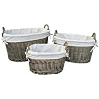 Small White foderato antico Wash ovale Wicker Basket (Basket Archiviazione)