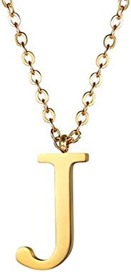 Round Pendant Necklaces for Men Women 18K Gold Plated Stainess Steel Initial Letter J Charms