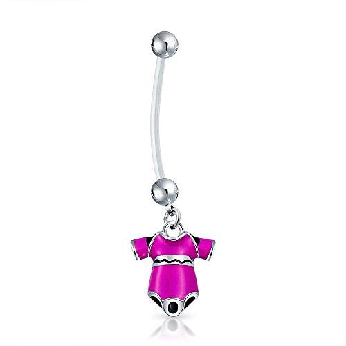 Belly Ringe Schwangerschaft Button (Bling Jewelry Bioflex Rosa Lack Body schwangeren Bauch Button Ring Stahl)