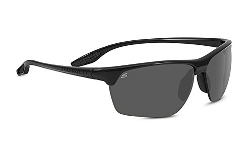 Serengeti Eyewear Erwachsene Linosa Sonnenbrille, Shiny Black, Medium/Large