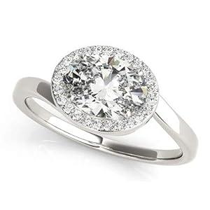 Damen-Ring Verlobungsring 1,25 Karat (750) Weiß-Rosé-Gelbgold Weißgold ovaler Schliff Größe O P L K M N