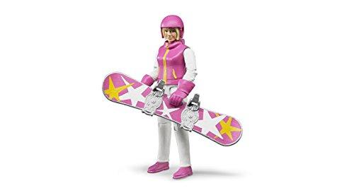 Bruder 60420 - Minifigur - bworld Snowboardfahrerin mit Zubehör 4