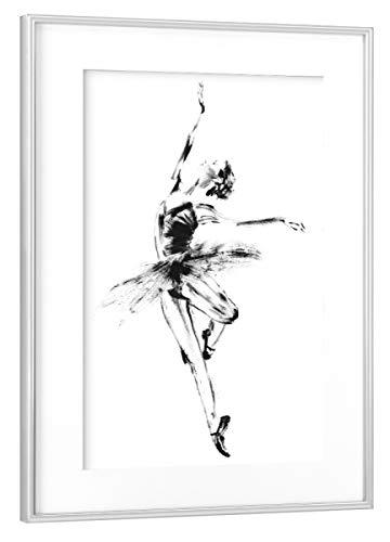 artboxONE Poster mit Rahmen Silber 75x50 cm Ballett Pirouette von Sarah Plaumann - gerahmtes Poster