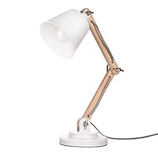 Tomons Lampe de Table Décoration, Design Vintage pour Bureau et Table de Chevet, Salon, en Bois, ampoule LED incl,Blanche