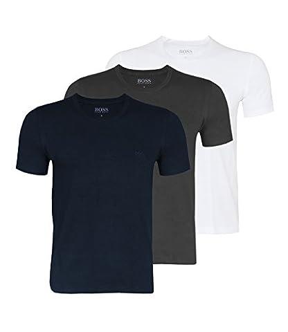 BOSS Hugo Boss Herren Unterhemd T-Shirt RN 3P CO, Blau (Open Blue 477), Large