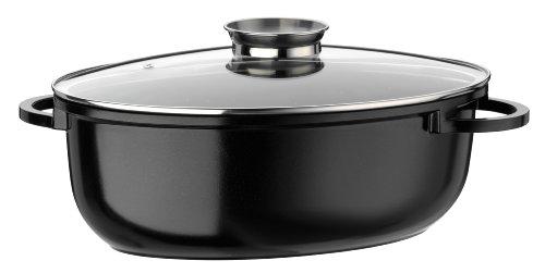 GSW 410571 Gourmet Ceramica Induktion Bräter XL oval mit Aroma-Glasdeckel 8,5 L, Aluguss, schwarz gesprenkelt, 38 cm 4 Einheiten