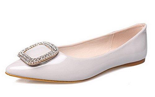 AalarDom Damen Rein Ziehen Auf Ohne Absatz Flache Schuhe mit Wasser Diamanten Hellgrau