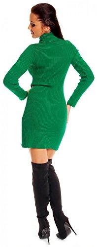 Zeta Ville - Damen Strick-kleid Rollkragen - Minikleid mit Rippenmuster - 417z Grün