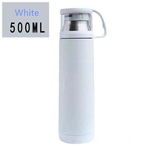 Haosen Creativa acciaio inox coppa coperchio trasparente Coppie tazza 500ML (Bianca)