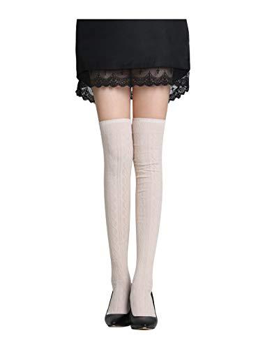 Screenes Hohe Socken Damen Fit Knie Mager Stretch Hoch Rippe Gestrickt Einfacher Stil Strumpf Knie Socken Freizeitsocken Fashion Mode (Color : Beige, Size : One Size) -