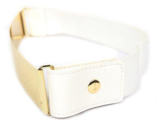 Frauengürtel, Gold Metall oder Silber Metall Platten mit Stretch-elastischen Band, eine Größe 30 x 5 cm Gold Weiß (T-shirt Militär Gelben Armee)