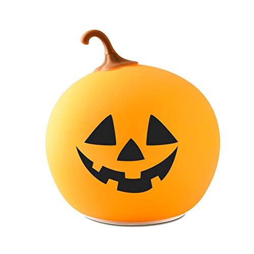 Bloomma Halloween Kürbislampe für Kinder Kürbislampe Jack-O-Lantern Wiederaufladbare Silikonlampe Pat Light Breathing Mode Kinderzimmerlampe (O Lanterns Halloween-jack Niedliche)