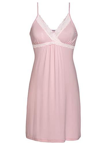Lusofie Damen Sexy Negligee V-Ausschnitt Nachtwäsche Kurz Sommer Nachthemd Spitze Nachtkleid(661 Rosa, S) - Kleid Größe Plus Rosa Mutterschaft