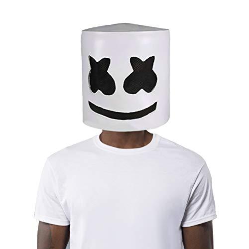 Finalshow Latex Marshmallow DJ Maske Halloween Party Nachtclub Weiße Maske Erwachsene Cosplay Kostüm Helm für Party Kostüm Spielen