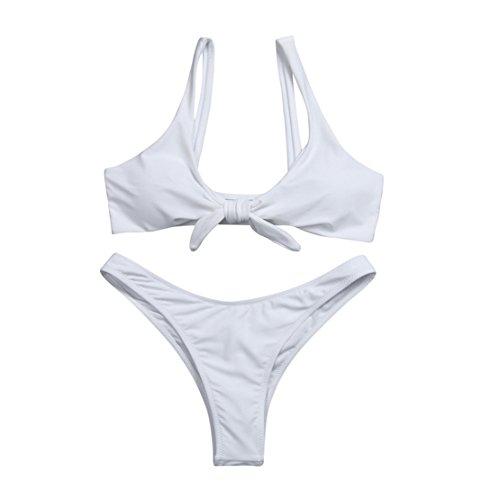 Mose Women's Tie Knot Front Low Waist Thong Bandage 2Pcs Bikini Sets Beachwear X-Large White