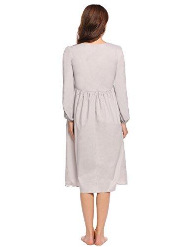 ADOME Kleid Damen Baumwolle Nachtkleid HIGH WAIST prizessin-Stil knielang Nachthemd Grau