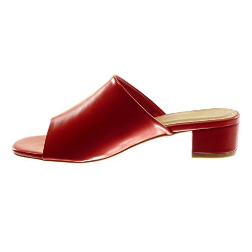 Angkorly Scarpe Moda Sandali Mules Slip-On Donna Tacco a Blocco Alto 4 cm Rosso