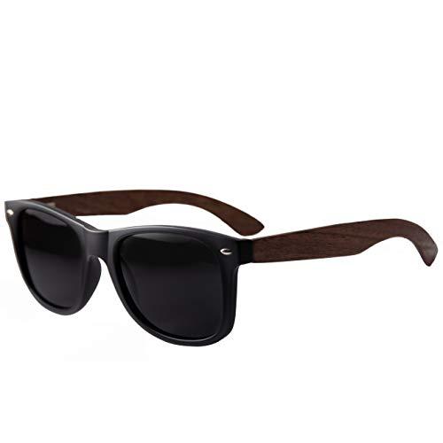 Holzwurm Sonnenbrille mit Holzbügeln aus Walnuss für Damen & Herren/Polarisierende Brillengläser...