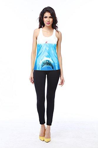 THENICE Damen Reizvolle dünne Muskelshirt ärmellos T-Shirt Weste Shark