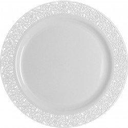 Decorline- Vaisselle de luxe à usage unique-Collection Inspiration- Blanc avec bord en dentelle -plastique rigid-Party-Jetable (Assiette 23cm)