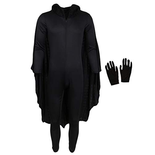 D DOLITY Männer Frauen Schwarze Fledermaus Halloween Bat Kostüm Kapuzenoverall Mit Flügel Handschuhe - M